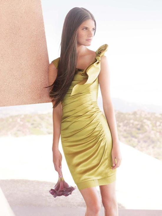 white by vera wang 2012 bridesmaid dress chartreuse satin one shoulder