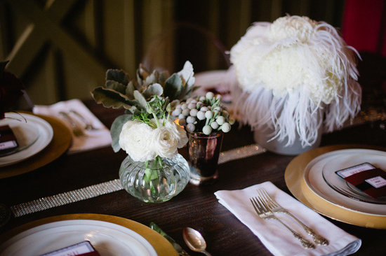 white feather wedding reception centerpiece