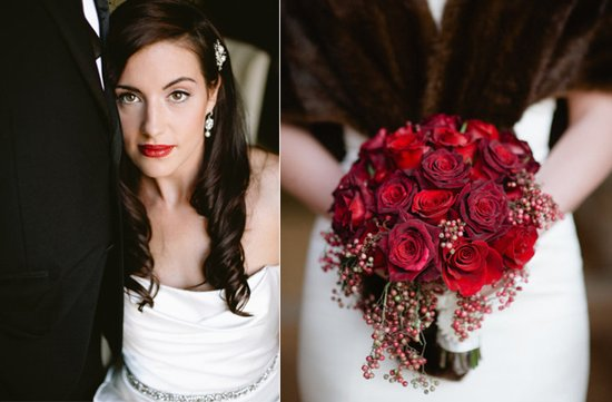 vintage glam bride red rose bridal bouquet