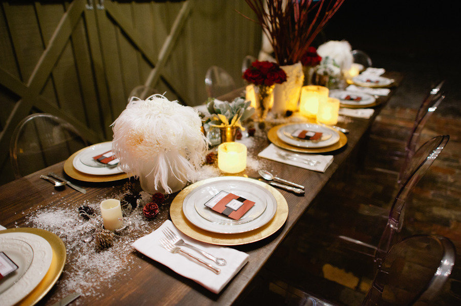 vintage winter wedding decor reception tablescape feather centerpieces