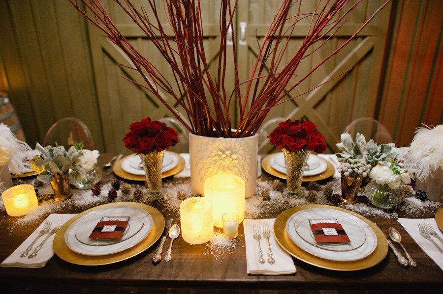 Vintage winter wedding red roses reception centerpieces