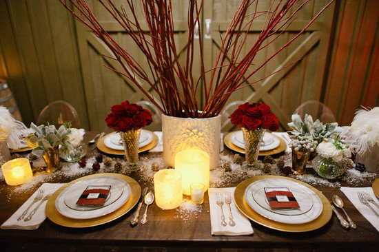 vintage winter wedding red roses reception centerpieces