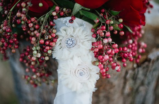 winter wedding bridal bouquet red roses