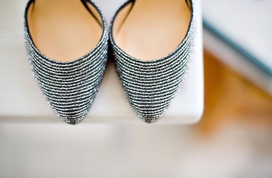 photo of vintage beaded bridal shoes