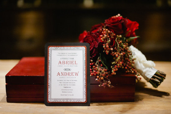 red bridal bouquet vintage wedding invitations