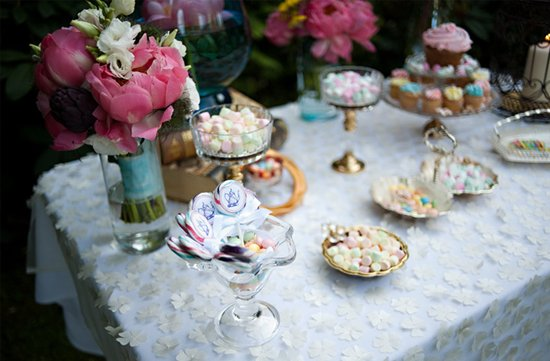 photo of vintage wedding reception table pink peony wedding flowers