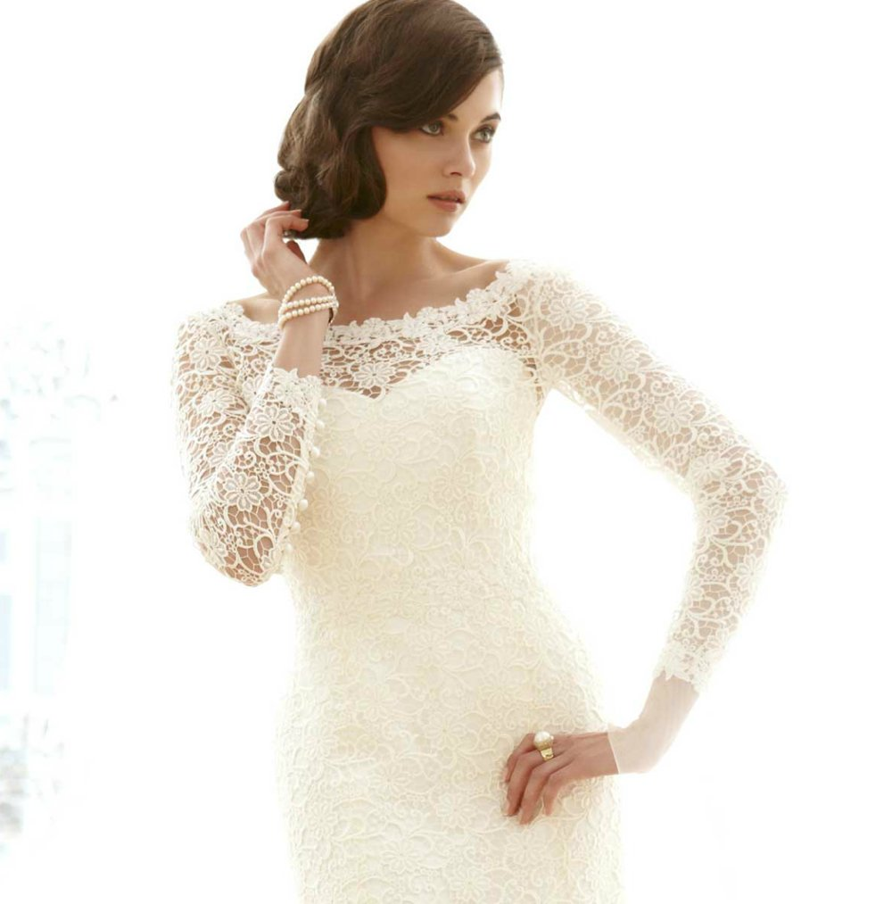 Lace Mermaid Wedding Gowns With Sleeves : Wedding dress bridal gowns couture lace sleeves mermaid onewed