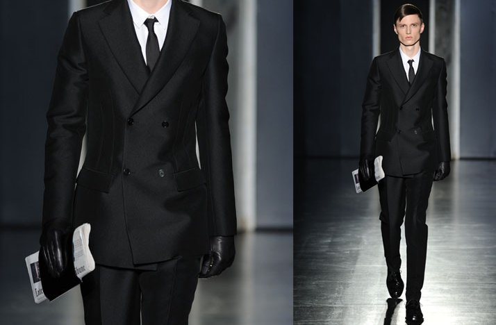 sleek grooms style black tailored suit