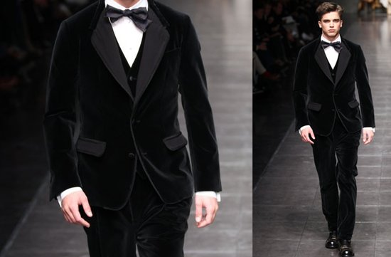 black velvet suit grooms attire fall winter 2012 dolce gabbana
