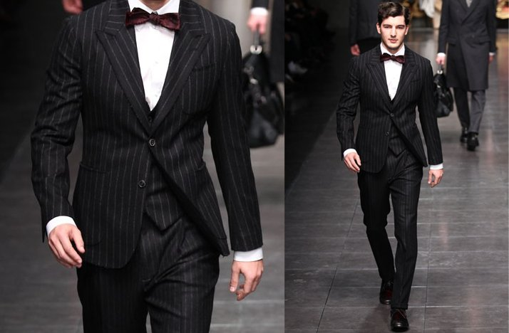black striped suit velvet bow tie grooms attire 2012