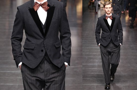 grey grooms suit bow tie paisley dolce gabbana
