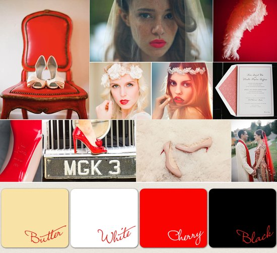 wedding color palettes 2012 red black white ivory