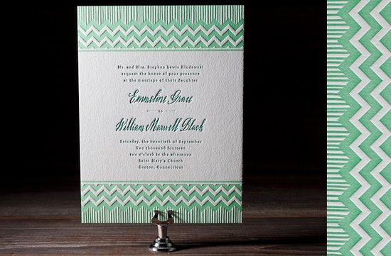 green ivory letterpress wedding invitations