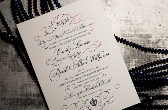 chic black white wedding invitations