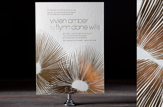 white gold letterpress wedding invitations