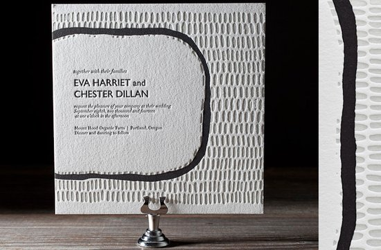 wedding invitations 2012 modern black grey letterpress