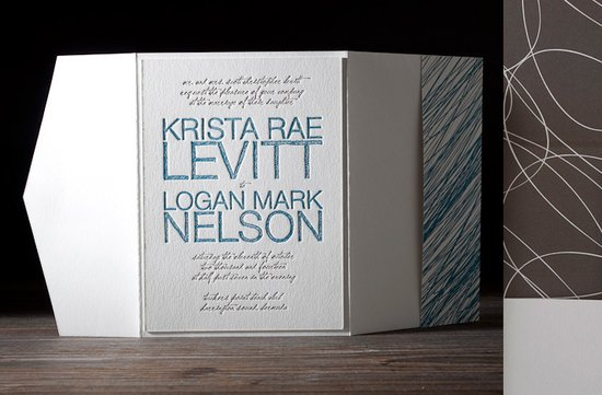 wedding invitations 2012 modern stationery letterpress blue