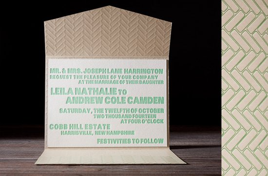 wedding invitations 2012 recucled green letterpress wedding stationery