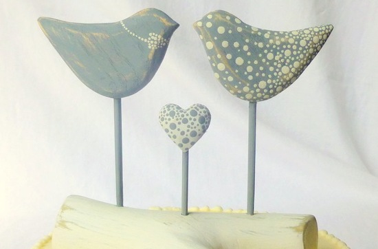 Dotted birds wedding cake topper