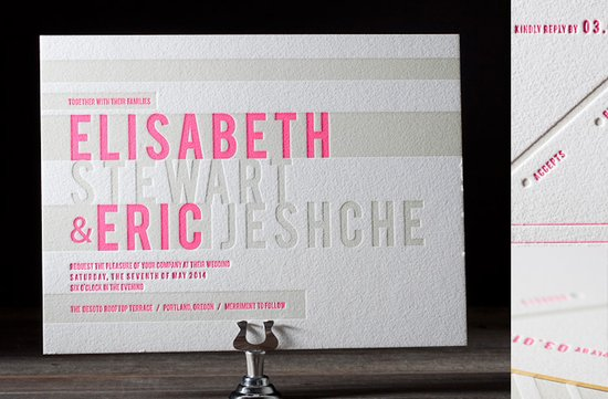 wedding invitations 2012 letterpress bright pink khaki