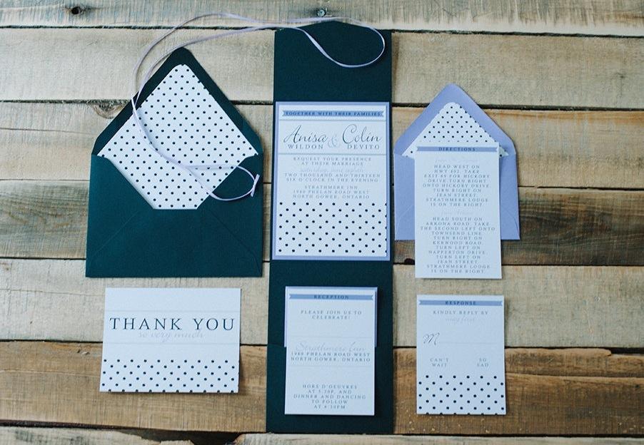 classic polka dot wedding invites navy white