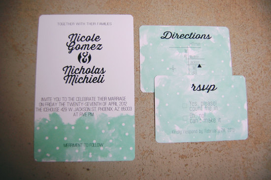 White mint black dotted wedding invitatios