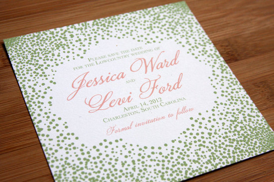Olive green coral white wedding invitations