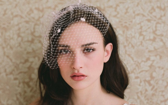 Blush pink dotted tulle bridal veil