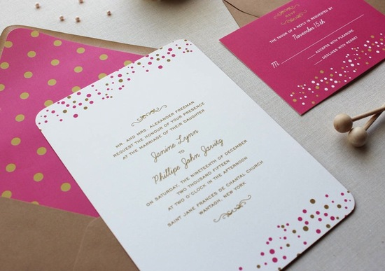 Dot and confetti fun wedding invitations