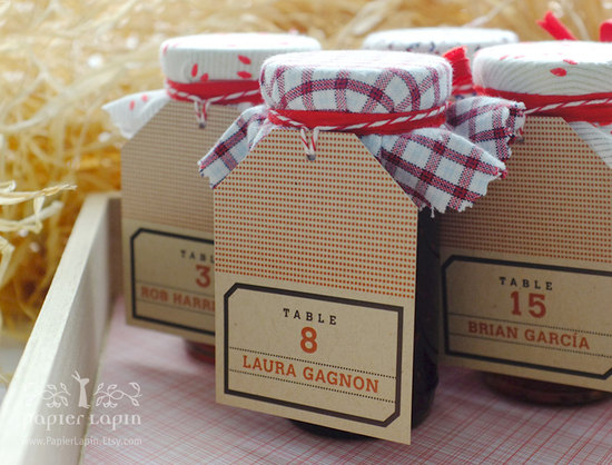 Rustic dotted wedding favors local jam