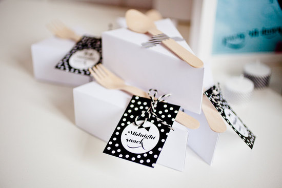 Black and white polka dot wedding favors labels