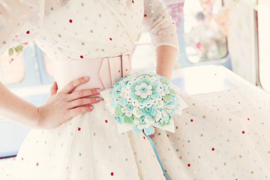 Retro polka dot bridesmaid dress
