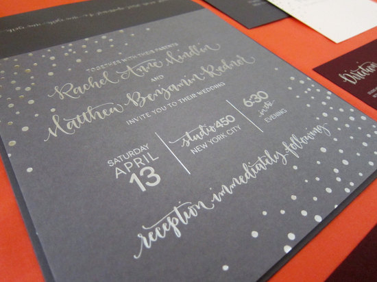 Calligraphy letterpress dotted wedding invites orange gray silver