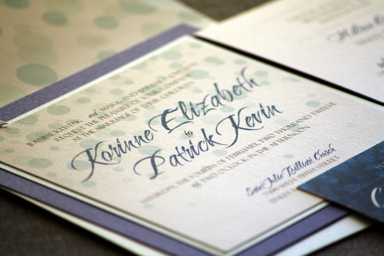 Delicate dotted wedding invitation navy seafoam ecru
