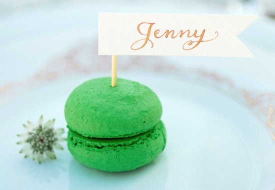 bright green macaron wedding place setting escort card