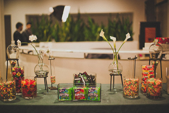 Whimsical wedding sweets table modern wedding