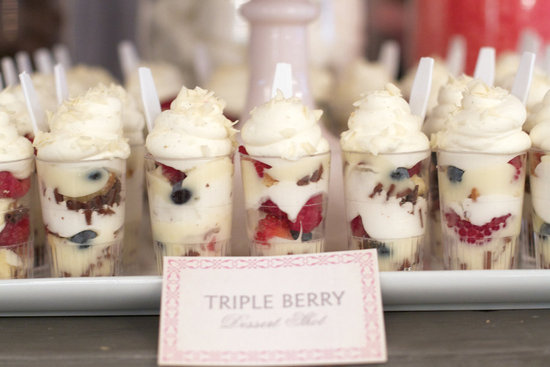 Berry parfaits wedding reception sweets