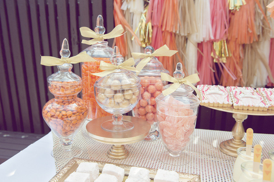 Whimsical wedding sweets table coral peach pink gold