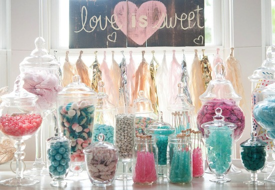 Aqua pink wedding candy bar