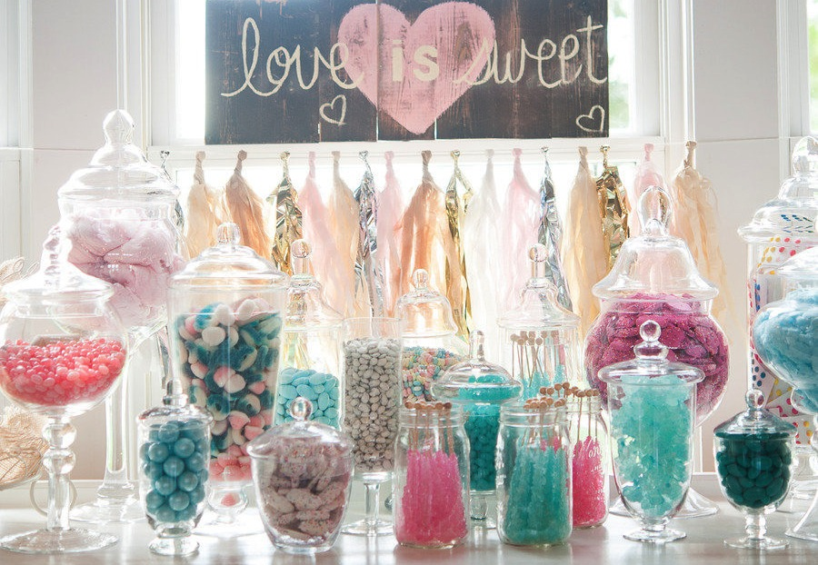 aqua pink wedding candy bar onewedcom