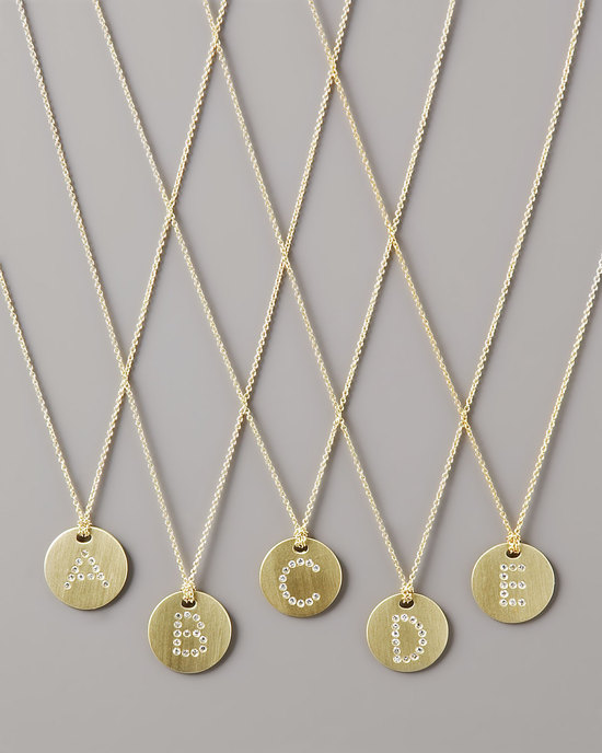 photo of letter medallion wedding necklace diamond initials
