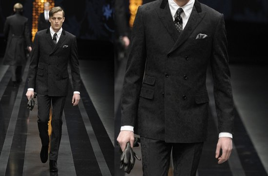 classic grooms black suit paisley pattern canali 2012