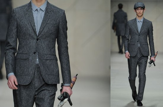 photo of grey grooms attire burberry suit vintage inspired 2012