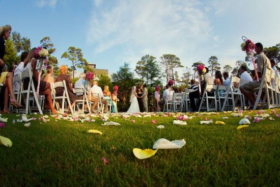 ceremony on grass with shep hooks