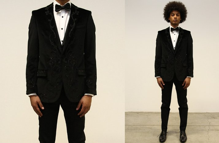 Black-grooms-tux-jacket-bow-tie-beading-offbeat-groom.full