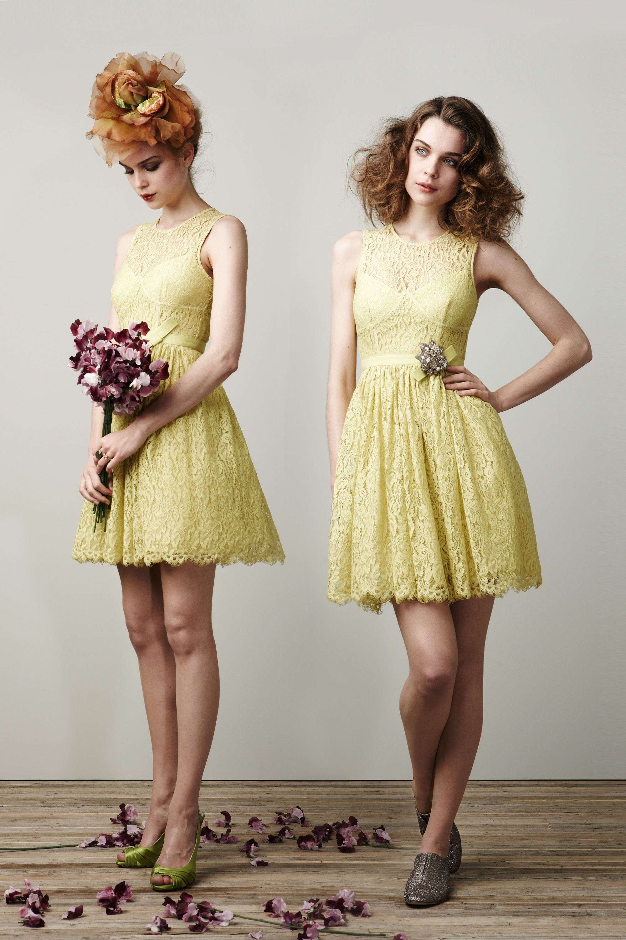 Bridesmaid Dresses Match Lace Wedding Dress : Pale yellow lace bridesmaid dresses onewed