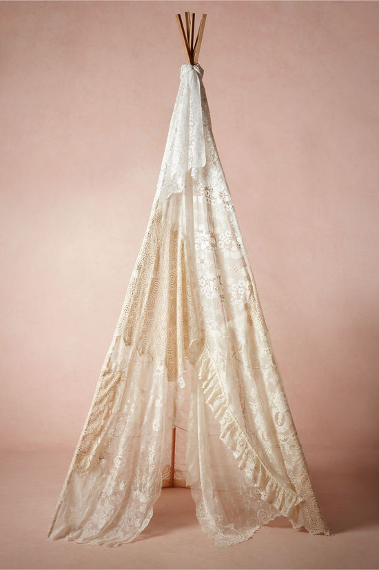 Lace teepee for wedding reception hideout
