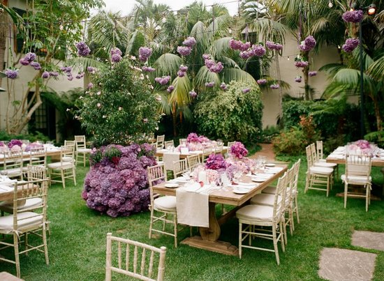 Purple hydrangea wedding flowers hanging from above