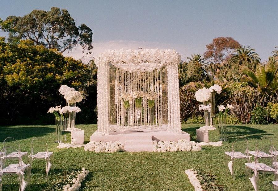 All White Wedding Ceremony Flowers Altar