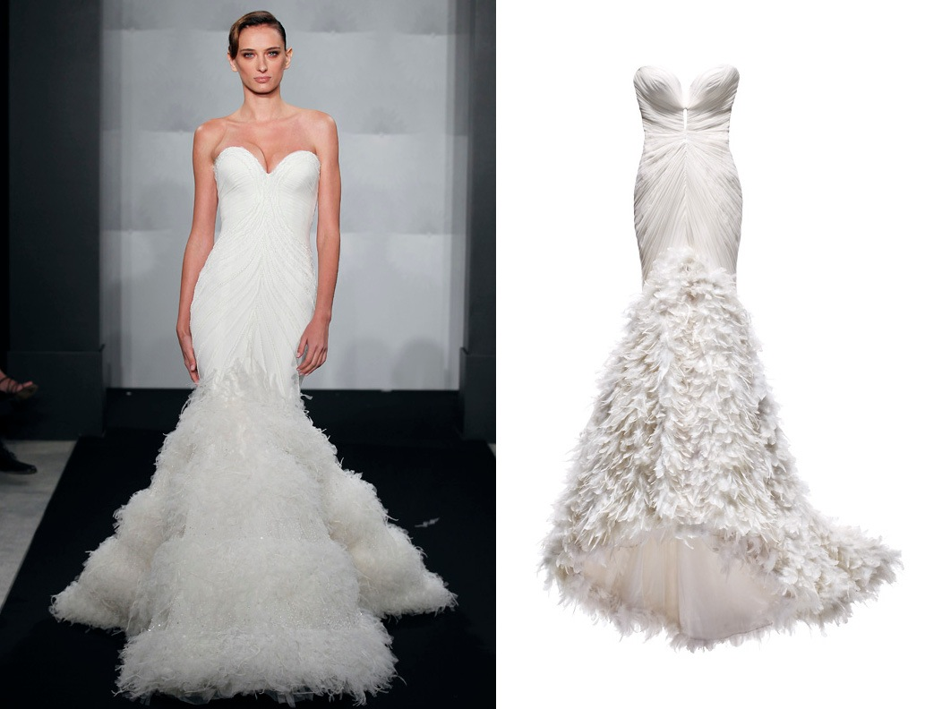 Wedding dress by mark zunino for kleinfeld bridal deep for Mermaid wedding dresses with feather bottom